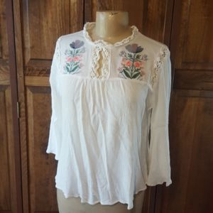 Umgee Floral Embroidered Blouse, Sz L